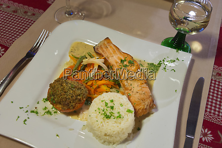 france alsace eguisheim grilled salmon dish