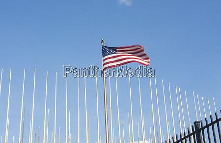 havana cuba usa flag flying at