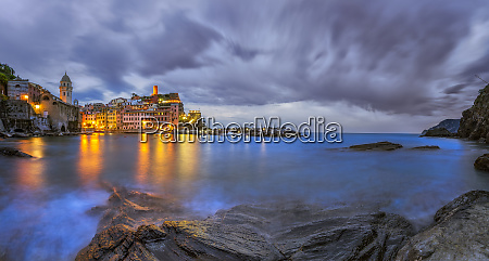europe italy vernazza sunset on town