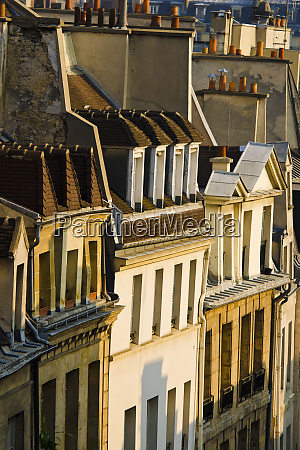 morning light on houses in the