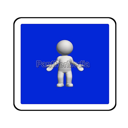 road sign white 3d human