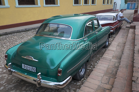 cuba trinidad classic restored automobiles parked