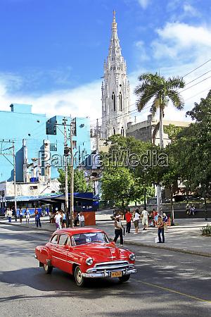 cuba havana old red pontiac car