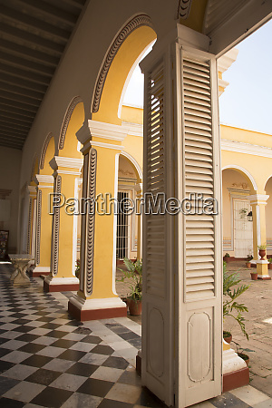 cuba trinidad courtyard and columns in