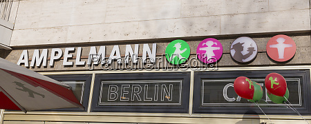 germany berlin sign at ampelmann cafe