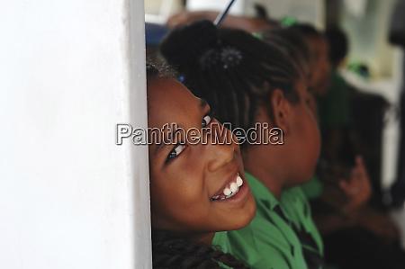 dominica roseau schoolchildren excited in the