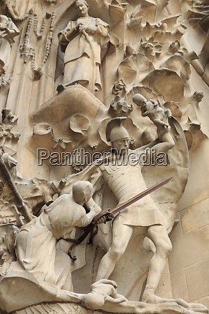 intricate carvings on the nativity facade
