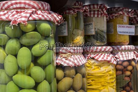 jarred green olives and vegetables for