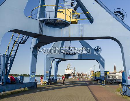 harbor with cranes at the unterwarnow