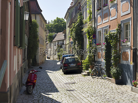 the medieval houses and alleys in