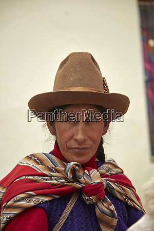 indigenous peruvian woman in traditional costume