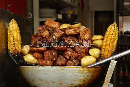cafe selling fried meat potatoes and