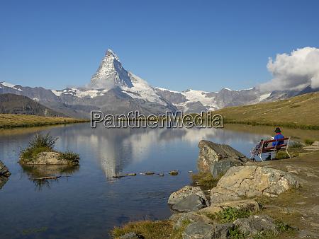 switzerland zermatt matterhorn reflected in stellisee