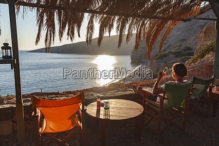 chios island greece woman relaxing