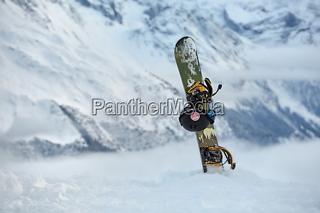 snowboard on a mountain top