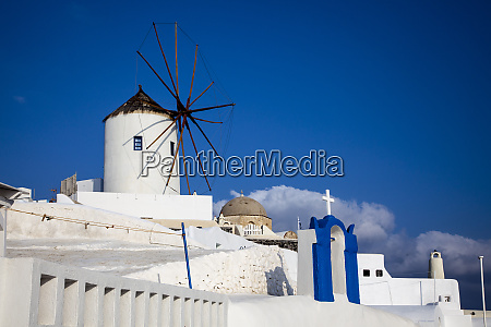greece santorini windmill and doorway