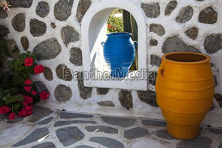 greece santorini flower pots decorating a