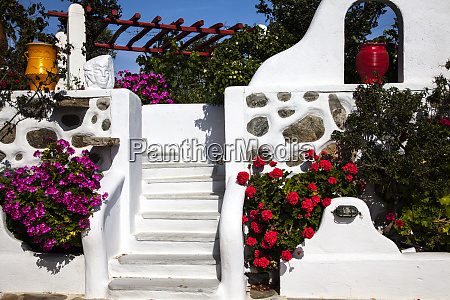 greece santorini steps decorated with flowers