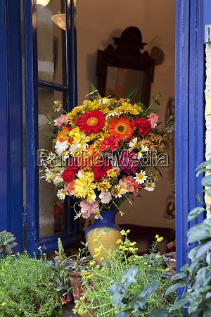 greece crete window with flowers