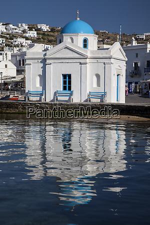 greece mykonos chapel and reflection