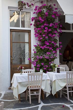 greece mykonos outdoor tables at a