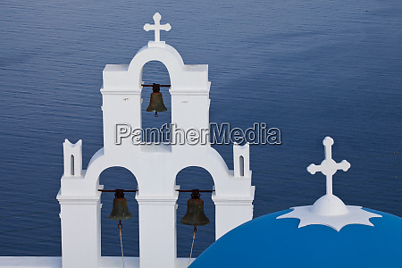 greece santorini blue dome and bell