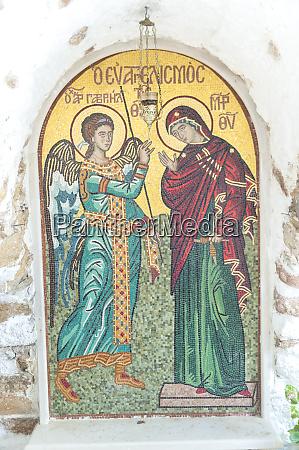 religious mosaic monastery paleiokastritsa corfu greece