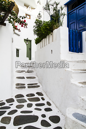 mykonos greece rock and stucco patio