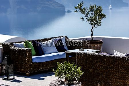 oia santorini greece rattan wicker patio