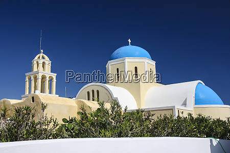 oia santorini greece blue domed greek
