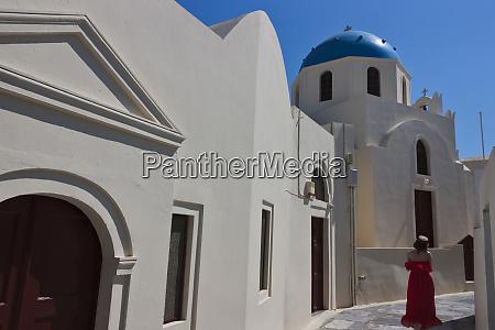 church in oia santorini island greece