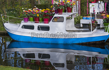 boat decorated with spring flowers