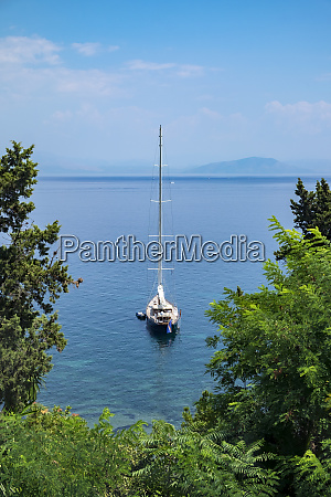 sailboat moored in ionian sea corfu