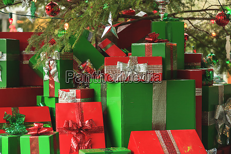 christmas gifts under a tree