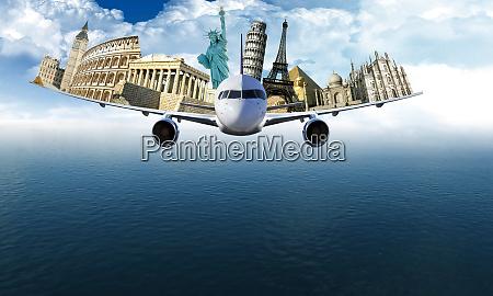 world travel destination conceptual illustration
