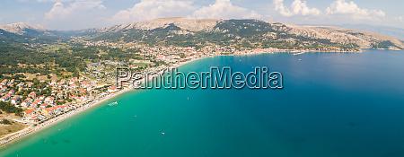 panoramic aerial view of baska coastal