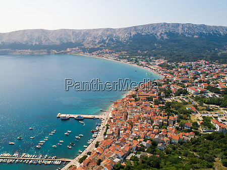 aerial view of baska coastal cityscape