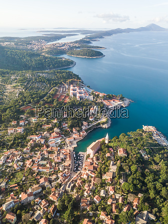 aerial view above of veli losinj