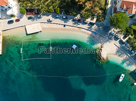 aerial view of empty beach at