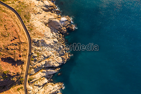 aerial view of road zigzagging at