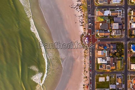 aerial view of cozy coastal neighborhood