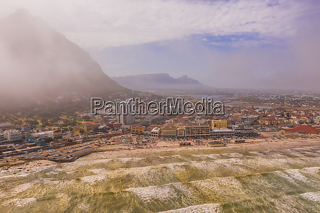 aerial view of muizenberg beach at
