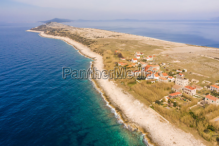 aerial view of isolated city at