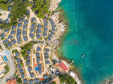 aerial view of luxury camping resort