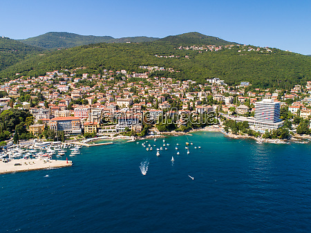 aerial view of opatija coastal cityscape