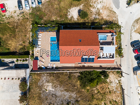 aerial view above vacation summer house