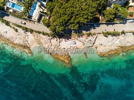 aerial view of hidden beach at