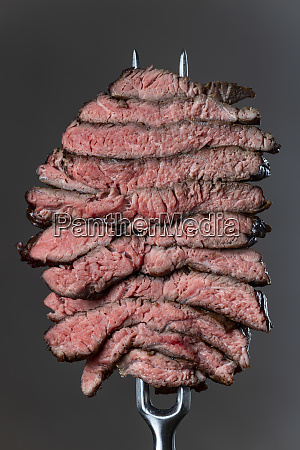 slices of a steak on grey