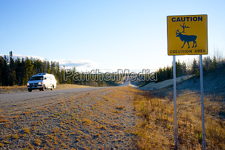 caribou collision area signage on the