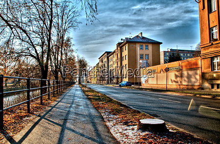 winter city street clouds in the